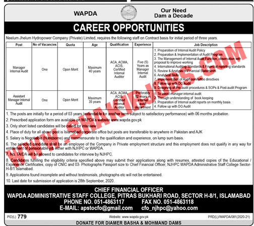 Jobs in Water And Power Development Authority WAPDA Jobs September 2020