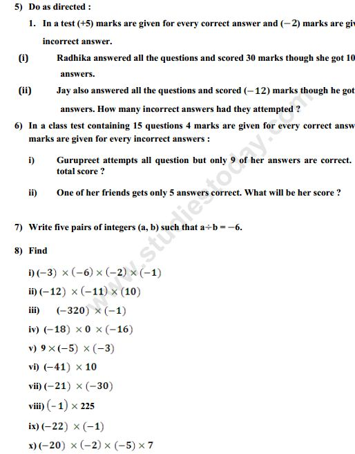 Maths 7 DCMC 2nd practice worksheet on integers – Integers Practice Worksheet