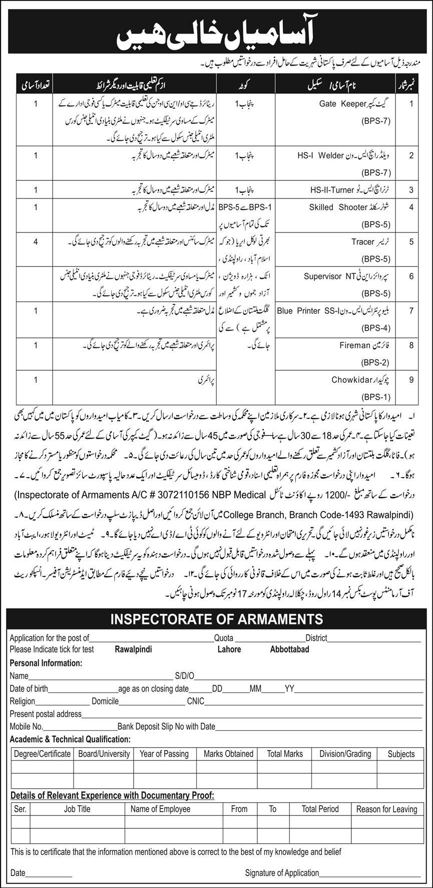 Inspectorate of Armaments Management November 2020 Jobs in Pakistan 2020 - Download Job Application Form