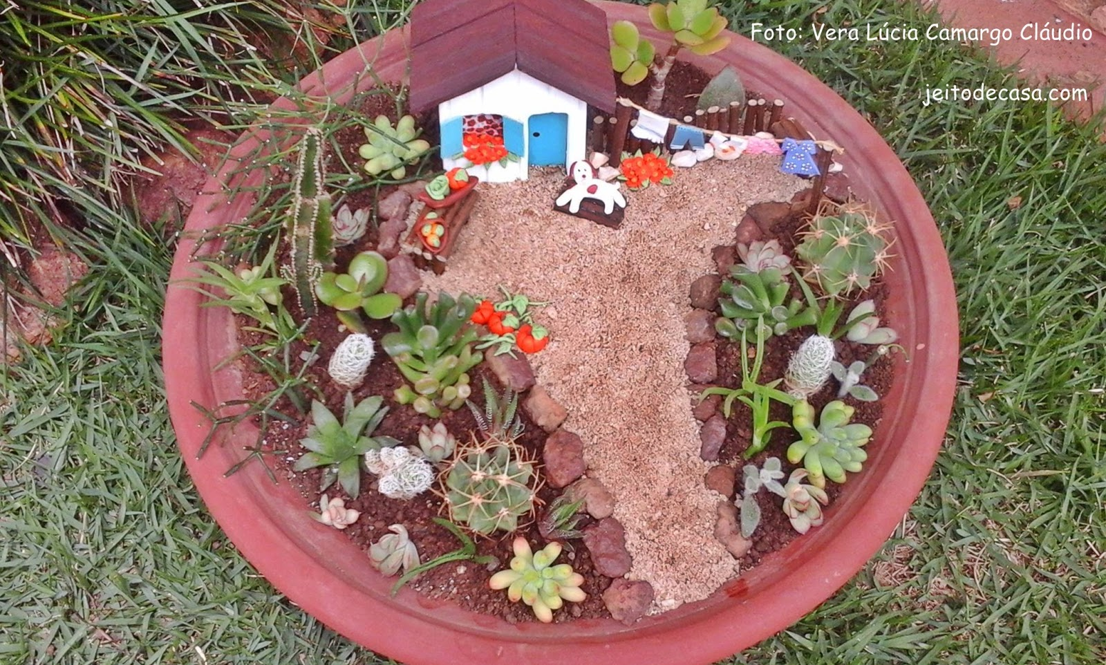 mini jardim de cactus:Mini jardim em vaso! – Jeito de Casa – Blog de Decoração