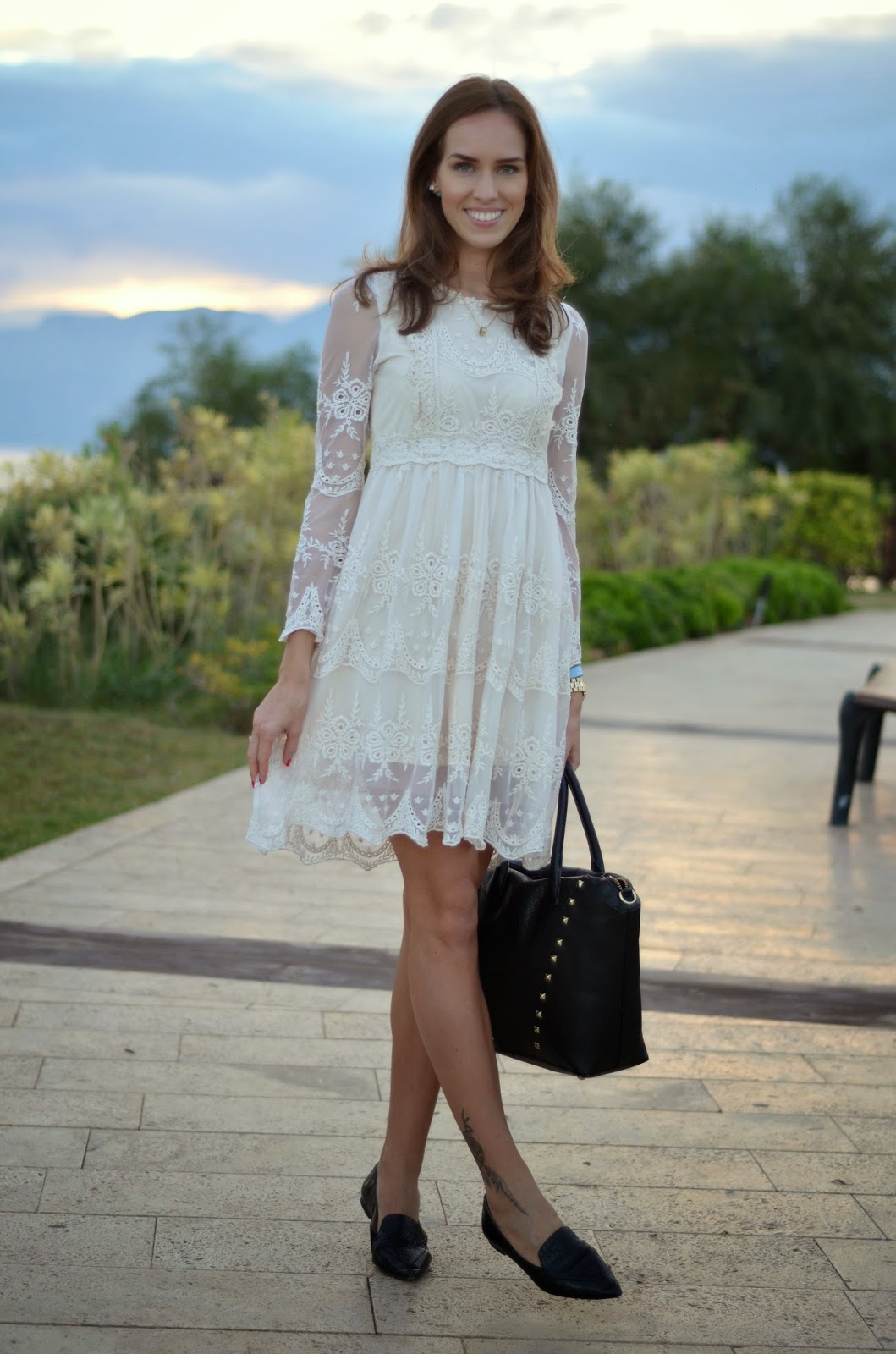 black-white-outfit-chicwish-lace-dress-mango-flats