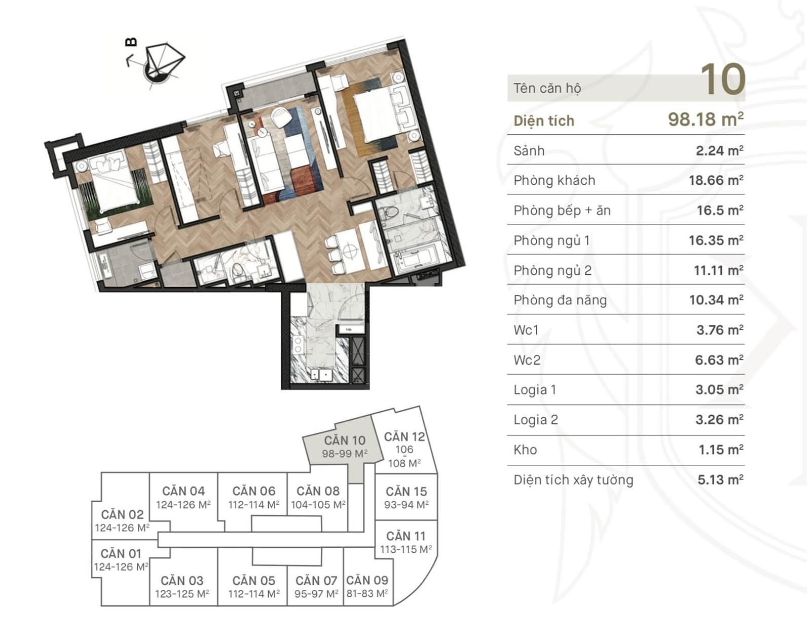 Thiết kế căn hộ 10 chung cư King Palace