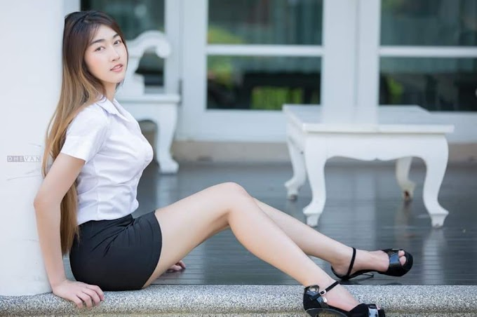 OFFICE WEAR:  9 pretty Asian girls wearing black and white office wear, showing off their sexy legs [11pics]