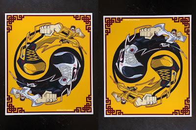 """Return of the Dragons"" Bruce Lee x Nike Kobe V Protro Sneakers Print by Tracy Tubera"