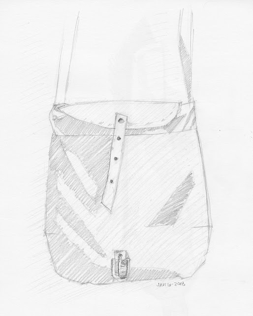 Daily Art 01-06-18 still life sketch in graphite number 95 - handmade cross body canvas purse