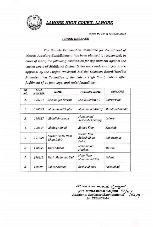 APPOINTMENT OF ADDITIONAL DISTRICT & SESSIONS JUDGES