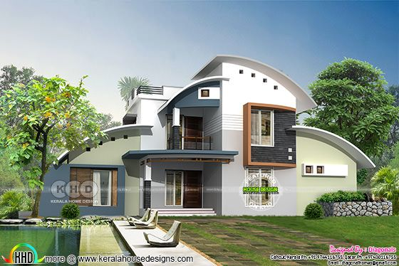 Modern curved roof house in 2622 sq-ft