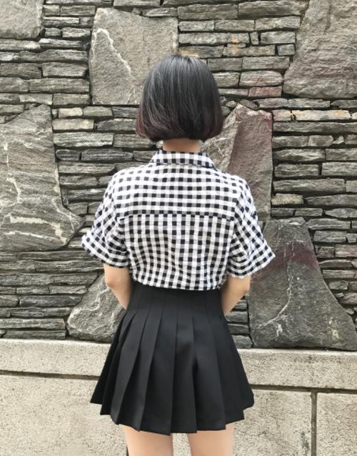 Gingham Check Tie-Waist Shirt