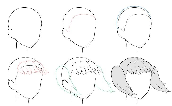 Kuncir anime rambut bertiup angin 3/4 tampilan menggambar langkah demi langkah