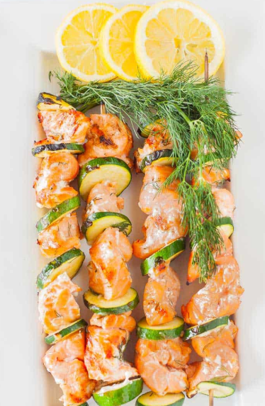 Vinegar, lemon juice and zest add a nice zing to salmon on kabobs. Fresh dill gives a nice pickled undertone.
