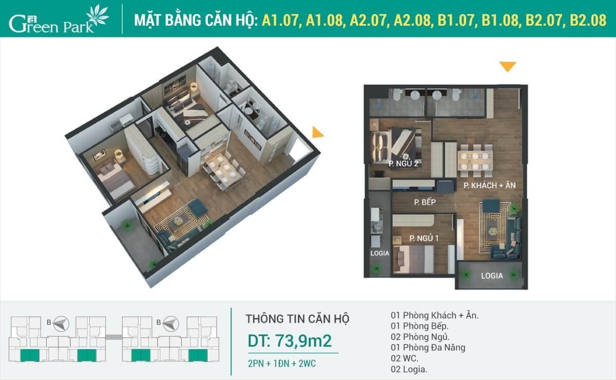 Thiết kế nội thất căn hộ 74m2 (2PN) chung cư Phương Đông Green Park