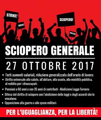sciopero generale 27 ottobre 2017