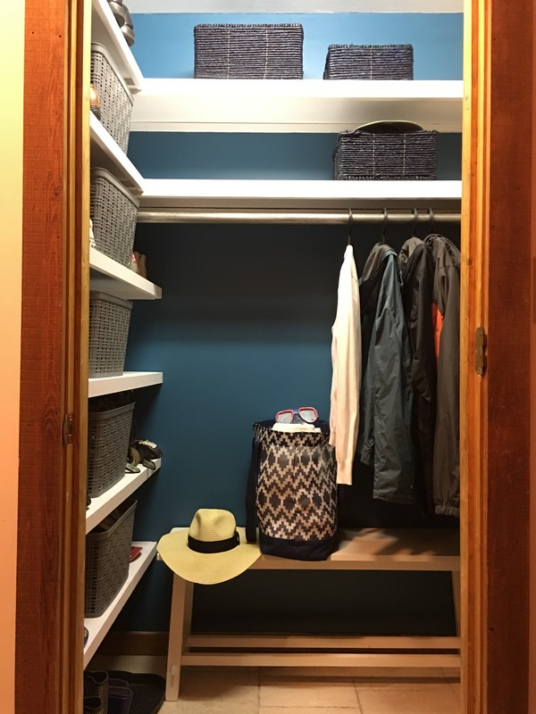 Coat Closet Mudroom Organization Makeover | $100 Room Challenge
