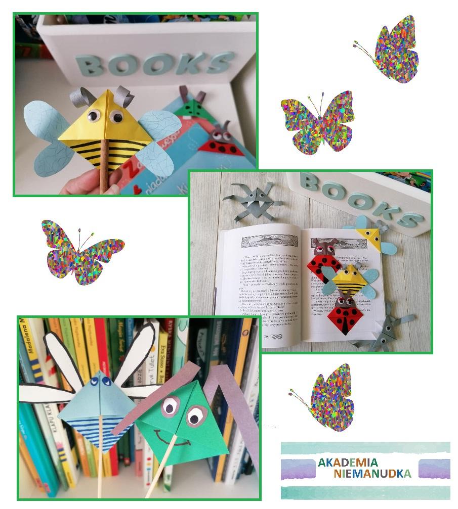 zakładki do książek, origami, robaczki, kwadratowe zakładki, mieszkańcy łąki, wiosenne robaczki