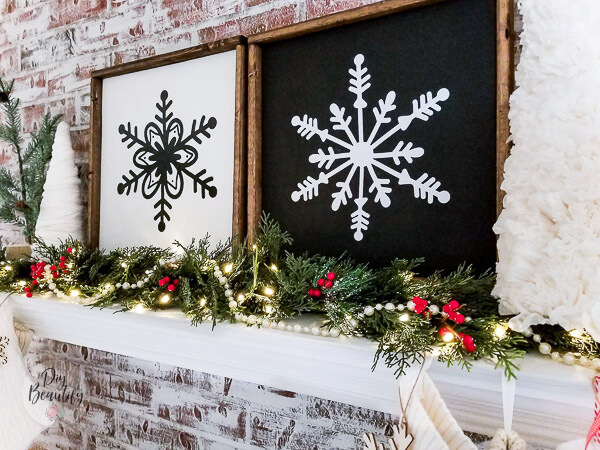 graphic black and white wood frame snowflake signs