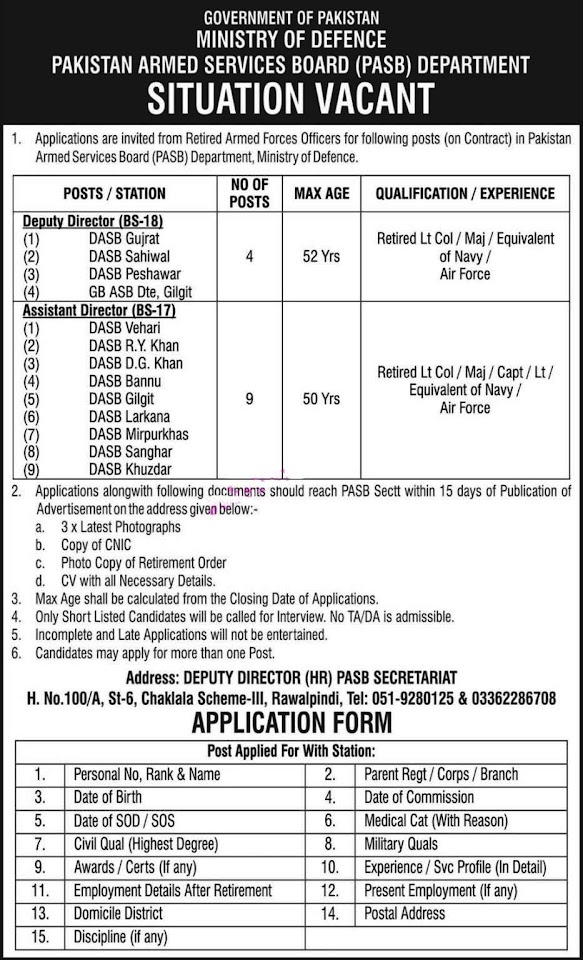 Latest Jobs in Ministry of Defence MOD 2021 - PASB Department