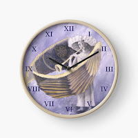A clock with the image of the Angel of Judgement
