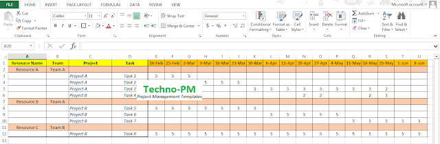 excel based resource plan template free project management templates