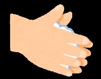 石鹸で手を洗う順番のイラスト(手の平)