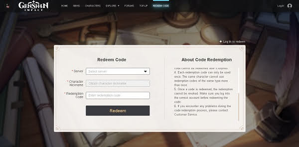 Kode Redeem / Redeem Code Terbaru Genshin Impact