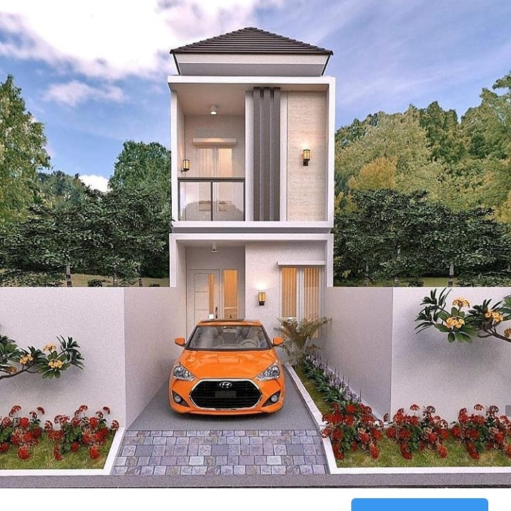 Desain Rumah Lantai 2 Dengan Lebar 4 Meter Berserta Rencana Anggaran Biaya Rab Homeshabby Com Design Home Plans Home Decorating And Interior Design