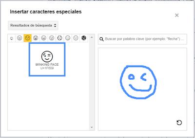 dibuja y encuentra el emoji en blogger