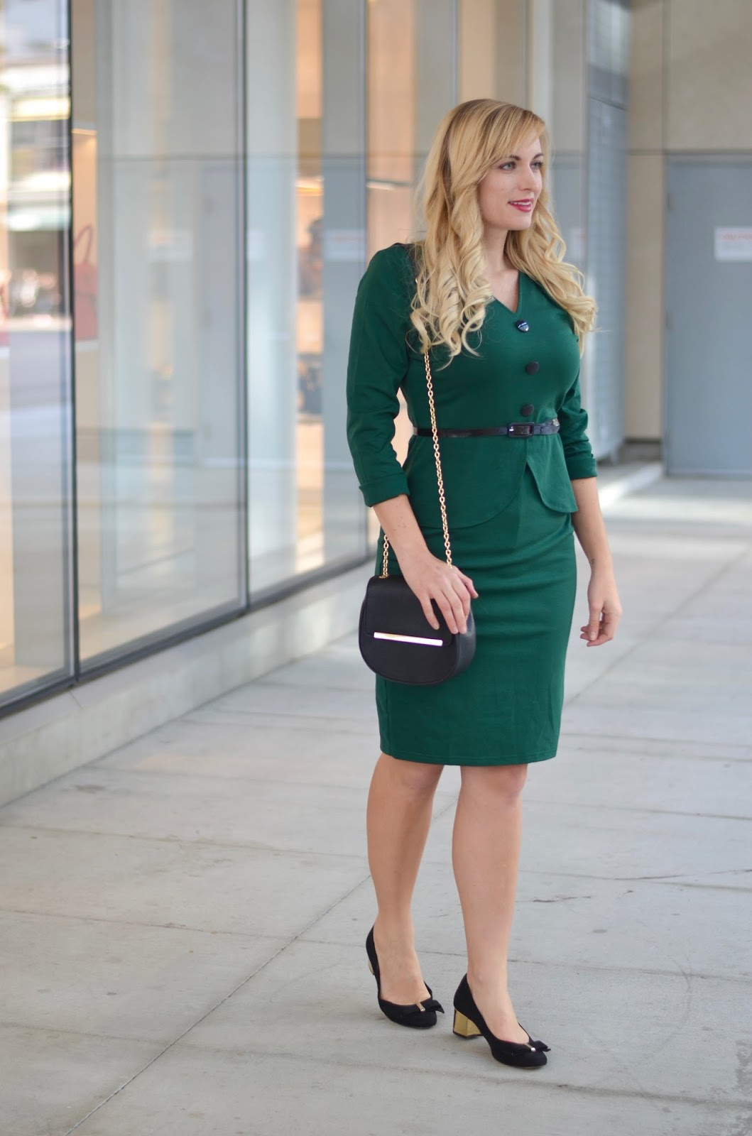 Green faux peplum office dress