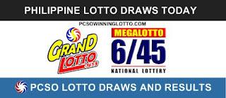655 Grand Lotto 645 Megalotto Result