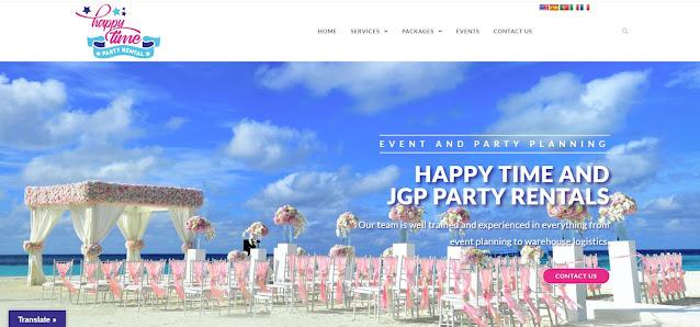 Happy Time Party Rental, empresa especializada en la planificación de eventos y alquiler de insumos para fiestas ubicada en Miami, Estados Unidos. Diseño del logotipo, desarrollo del sitio web, diseño de piezas gráficas y estrategía SEO.