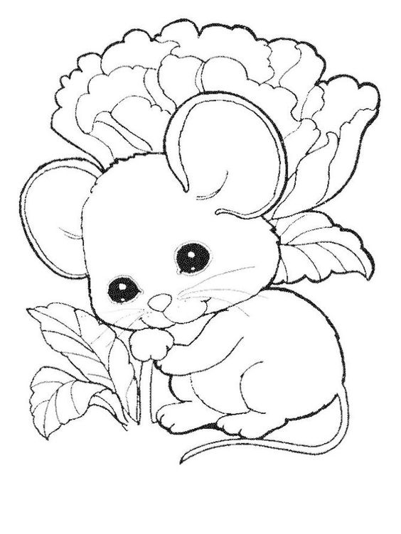 Tranh tô màu con chuột bên cây hoa