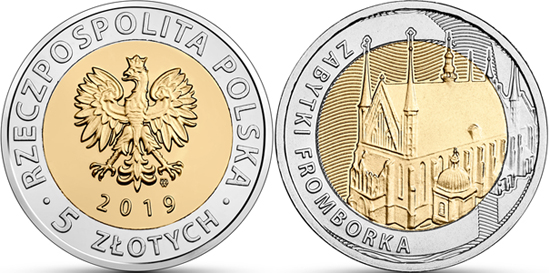 Poland bimetallic 5 zlotys 2019 Monuments of Frombork