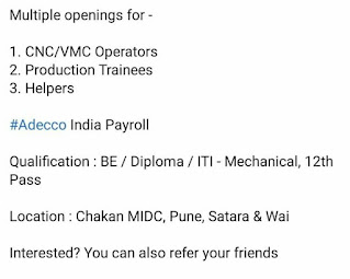 BE / Diploma / ITI/ 12th Pass Jobs Vacancy For CNC/VMC Operators,  Production Trainees & Helpers Position in Manufacturing Company
