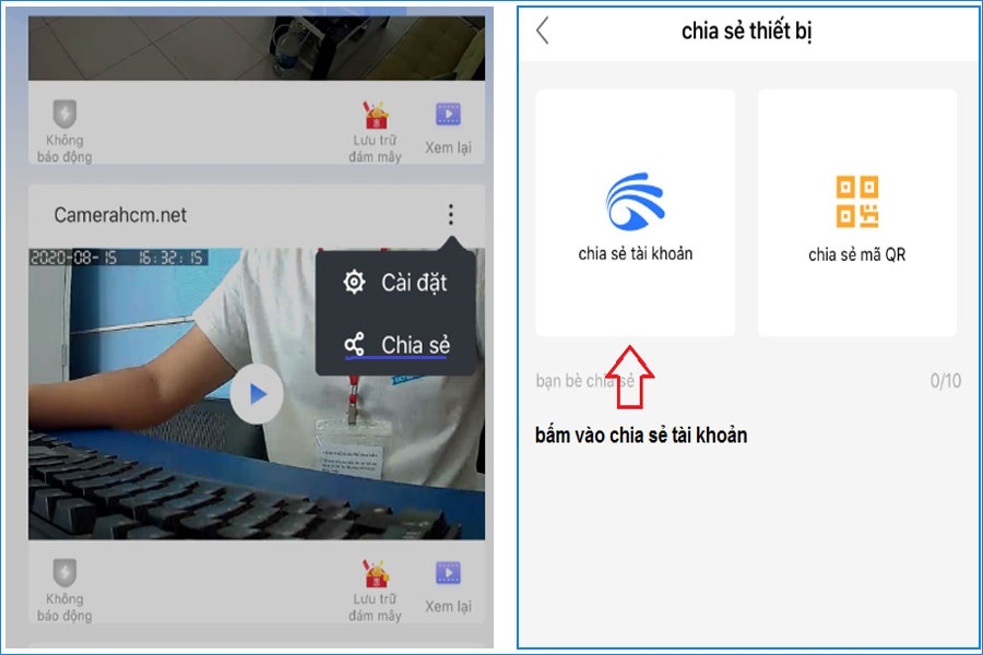 hướng dẫn chia sẽ tài khoản camera wifi yoosee