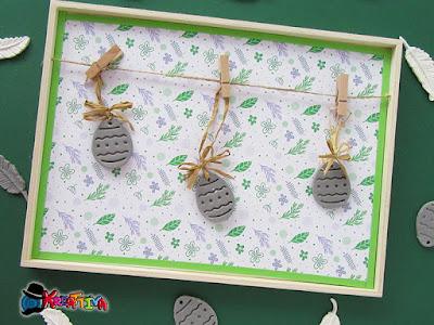 uova per albero di pasqua realizzata con pasta modellabile che essicca all'aria