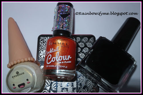 Essence: Uni-cone, Rimmel: Shirley Temple, Born Pretty Store: Black stamping polish