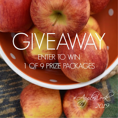 Appleweek giveaway graphic with bowl of apple in the background and giveaway text on top