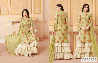 Gorgeous Satin Cotton Printed Sharara Suits