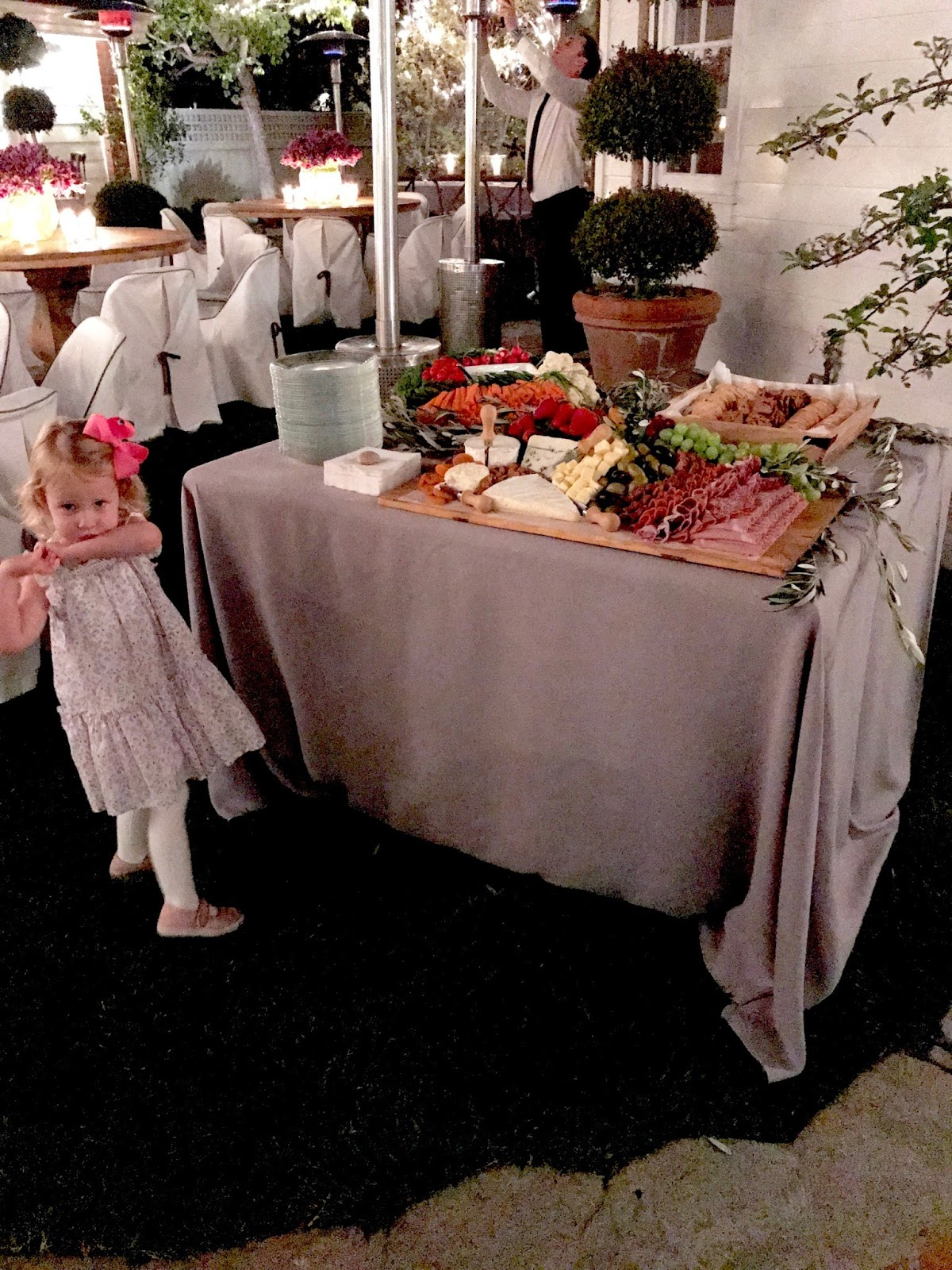It Was A Cooler Evening For California You Can See Heat Lamps Being Lit This Little One S Attire Matches The Dusty Lavender Theme