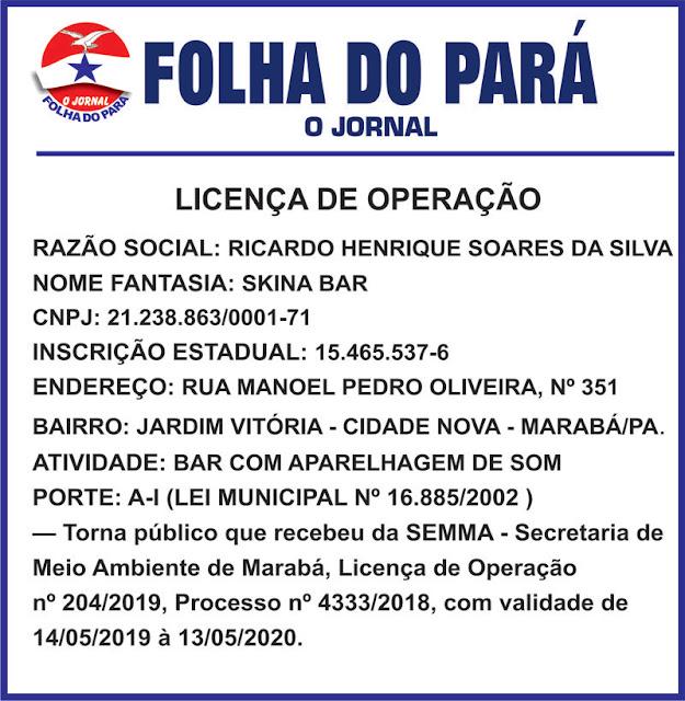 LICENÇA DE OPERAÇÃO -- SKINA BAR -- Marabá/PA