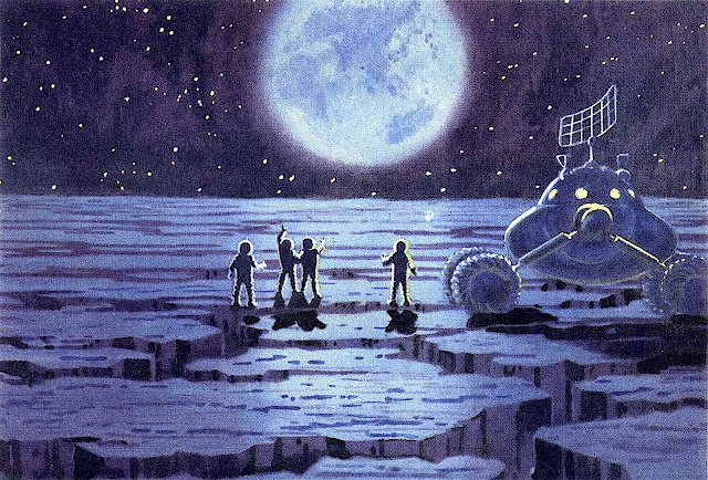an illustration by Andrey Sokolov or Alexey Leonov, men on the moon looking at Earth
