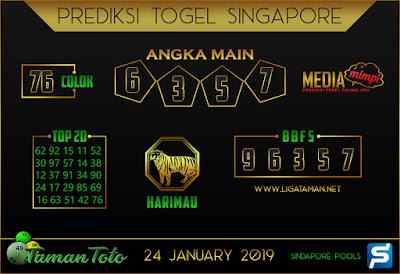 Prediksi Togel SINGAPORE TAMAN TOTO 24 JANUARI 2019