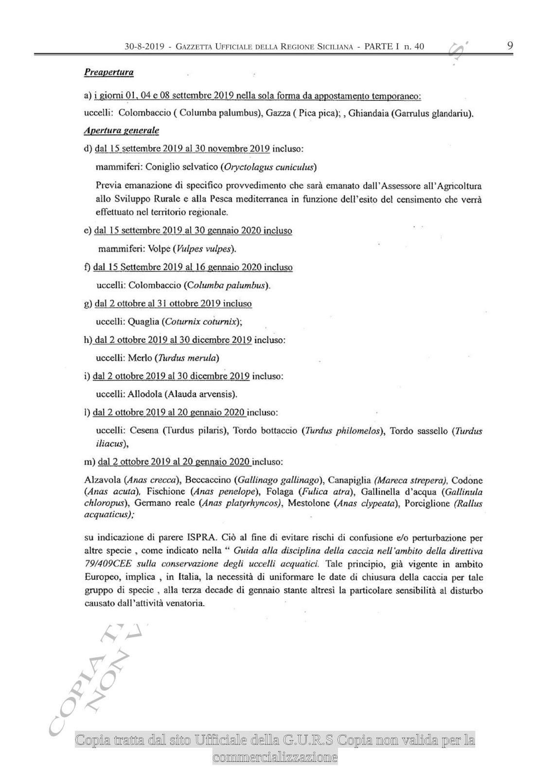 Calendario Venatorio Sicilia 2020.Vigopensiero Agosto 2019
