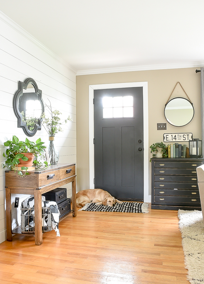 High contrast modern farmhouse entryway