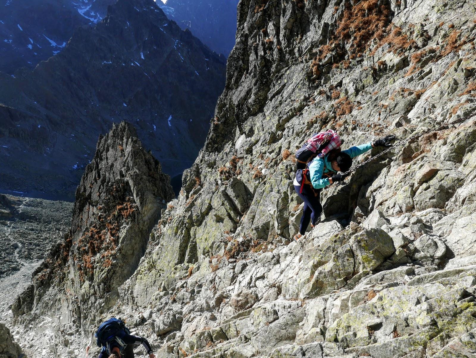 tatry szlak Rohatka Prielom panorama foto klamry łańcuchy