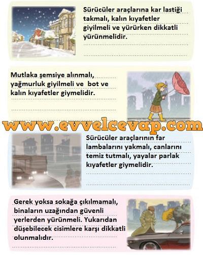 3. Sınıf Sevgi Yayınları Hayat Bilgisi Çalışma Kitabı 96. Sayfa Cevapları Hava Koşulları ve Trafik Metni