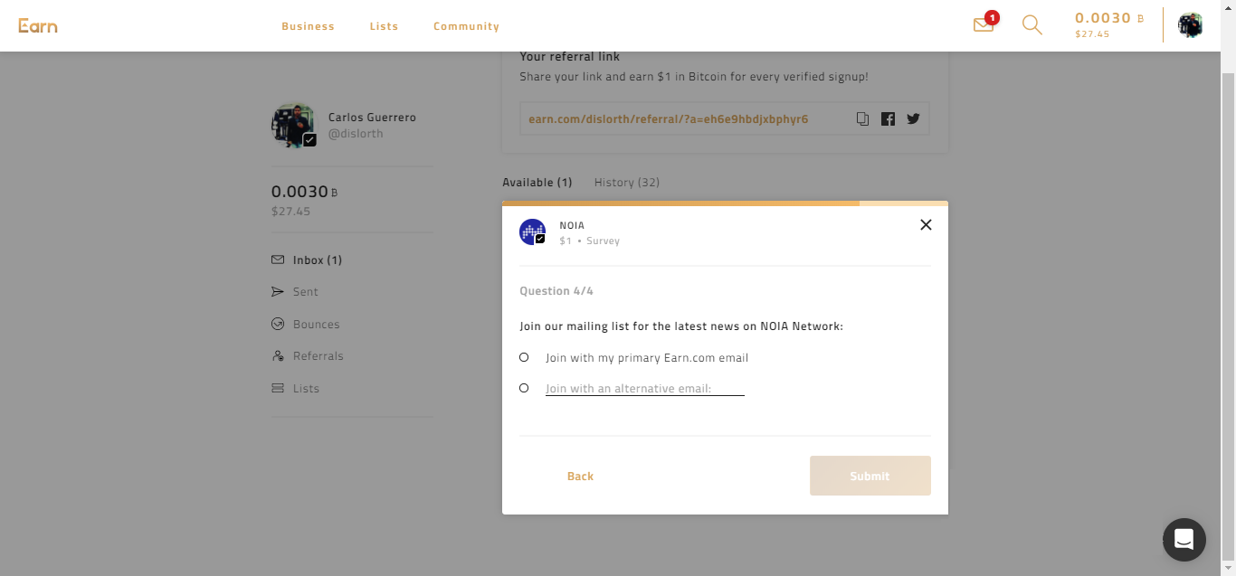 Gana Bitcoin gratis con Earn