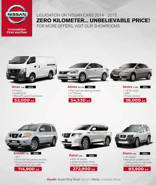 NISSAN Saudi Arabia Special Offers on 2014 and 2015 Models