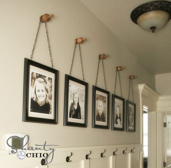 hanging photos in hallway