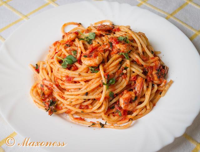Спагетти с креветками от Джейми Оливера