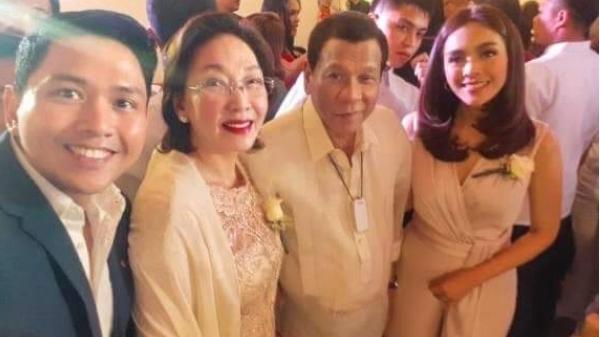 President Rodrigo Duterte joins Mel Tiangco, Vicky Morales at the wedding of Rida Reyes and Cedric Castillo